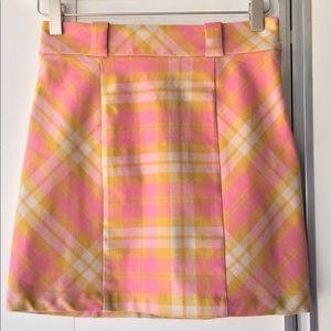 Urban Outfitters Pink & Gold Plaid Mini Skirt